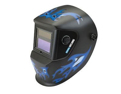 Auto Darkening Welding Helmet Blue Flame Design Face Shield Weld Sparks Solar