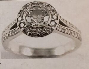 18K white gold ladies diamond engagement ring