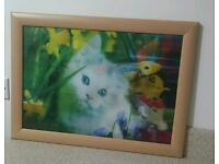 Cat and dog holographic framed picture