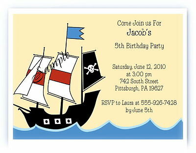 12 Personalized Custom Pirate Birthday Party Invitations Cards