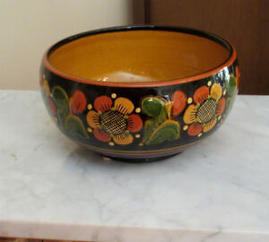 Hand Painted Bowl - Decorative Flowers