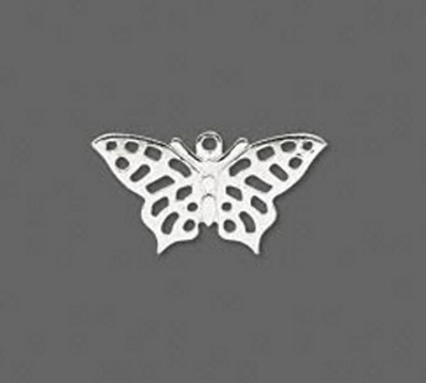 Butterfly Charms Silver 3/4 inch Flat Jewelry Lot of 24