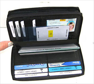 Black Dual Zipper Compartment Leather Credit Card Checkbook Organizer Wallet