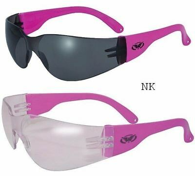 2 Rider NEON PINK Women's Safety Sunglasses-Shatterproof Smoked & Clear Lenses