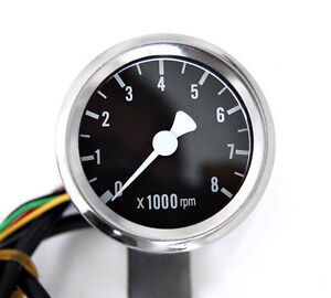 New 1 7 8 mini electric tachometer black face tach fits for Tachometer for electric motor