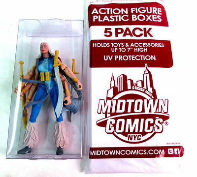 Midtown Comics Clear Plastic Action Figure Display Boxes 7 - 5 Pack New