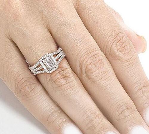 Emerald Cut Diamond Bridal Ring Set GIA Certified 18k White Gold 2.25 Carat