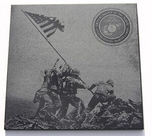 WWII-Iwo-Jima-Flag-Raising-6-x6-Black-Marble-Plaque-Navy-Marines