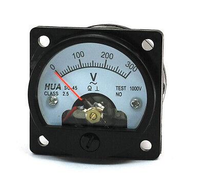 Ac 0-300v Round Analog Dial Panel Meter Voltmeter Gauge Black