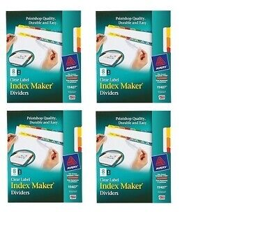 Lot Of 8 Packs New Avery Clear Label Index Maker Dividers 11407 64 Tabs Total