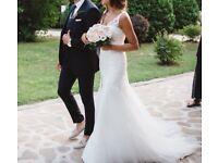 OLEG CASSINI, V-Neck Mermaid Wedding Dress with lace and tulle maxi skirt