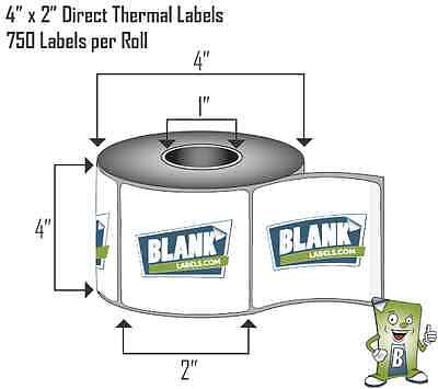 2 Rolls 4x2 Direct Thermal Labels Zebra Lp 2844 Gx Zp Models. 750 Labels Roll