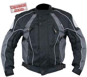 Mens-Black-Grey-Armored-Waterproof-Tri-Tex-Motorcycle-Jacket-w-zipout-liner