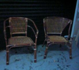 Brown wicker chairs