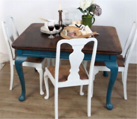 Vintage Upcycled Queen Ann Claw Foot Dining Table & 4 Chairs