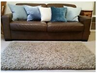 John Lewis Thick Pile Shaggy Wool Rug in light brown / taupe colour; 155 x 98cm