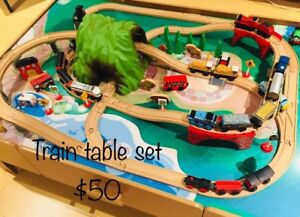 Train table with tracks