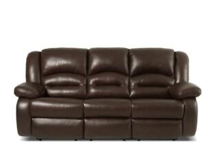 Toreno Genuine Leather Reclining Sofa – Brown