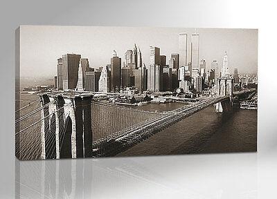 [new york skyline] 200x100 PANORAMA XXL BILD AUF LEINWAND + KEILRAHMEN 26