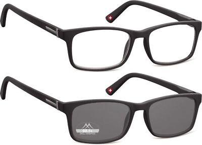 Lesebrille Montana matt schwarz Gläser klar oder getönt - Schwarze Brille