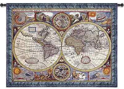 ANTIQUE OLD WORLD BLUE VINTAGE MAP ART WALL TAPESTRY LARGE 65x52