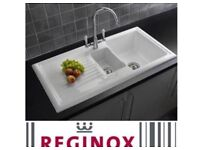 NEW Reginox 1.5 Bowl White Ceramic & Reginox Elbe Tap