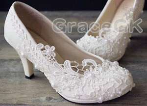 Lace-white-ivory-crystal-Wedding-shoes-Bridal-flats-low-high-heel-pump-size-3-10