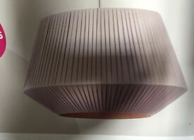 Large grey/taupe fabric lampshade