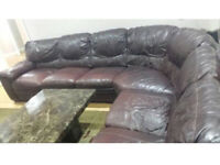 7 seater brown leather sofas for £300