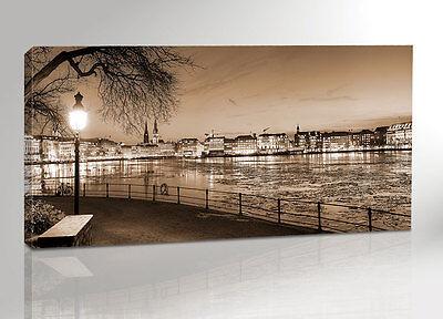 HAMBURG ALSTER 200x100 BILD AUF LEINWAND + KEILRAHMEN 2000