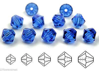 Czech MC Glass Bicone Beads (Rondell/Diamond) Sapphire dark blue color -