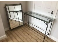 Rustic cast iron console table and large mirror set