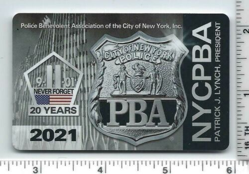 NEW AUTHENTIC NYC PD 2021 (20th Anniversary of 9-11-01) PBA CARD - unsigned