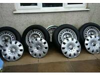 Vw transporter steel wheels with tyres.