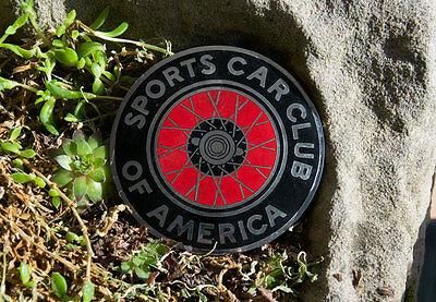 VINTAGE ENAMEL AUTOMOBILE CAR CLUB BADGE # SPORTS CAR CLUB OF AMERICA