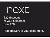 NEXT voucher for £20 off your first £50 order + FREE delivery gift card / coupon / discount / offer
