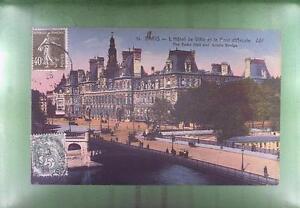 CPA France 1926 Paris Hotel de Ville Bridge Brücke Pont Most f14 - <span itemprop='availableAtOrFrom'>DABROWA, Polska</span> - CPA France 1926 Paris Hotel de Ville Bridge Brücke Pont Most f14 - DABROWA, Polska