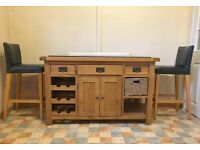 Oak Kitchen Island with Marble Work Top