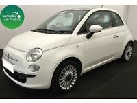 £124.29 PER MONTH WHITE 2012 FIAT 500 1.2 LOUNGE 3 DOOR PETROL MANUAL START/STOP