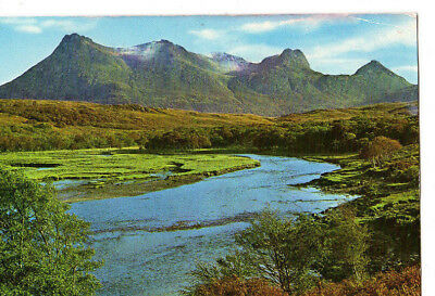 OLD POSTCARD - SCOTLAND - The Kinloch River and Ben Loyal, Sutherland - Skilton