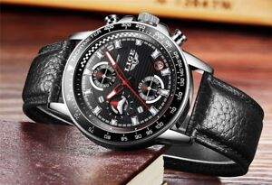 BNIB Leather band-Stainless Steel Bezel-CHRONO-3ATM Watch