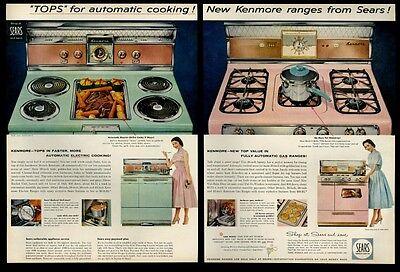 1957 Sears Kenmore Pink Gas Green Electric Range Stove Photo Vintage Print Ad