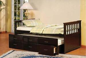 LORD SELKIRK FURNITURE - Captain Bed with Trundle Bed with Drawers in Espresso - $399.00