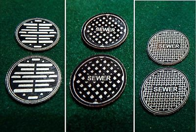 6 - O Scale Manhole Sewer Covers Street Adhesive Backed Laser Cut Precision Adhesive Backed Scales