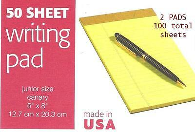 2 Pk Jr Size 5 X 8 Yellow Legal Pads Lined 100 Sheets Tops 1469 - Usa Note Pads