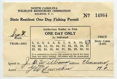 Vintage 1954 North Carolina One Day Daily Fishing Permit License Clemmons NC