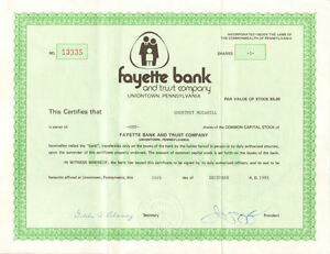 Fayette-Bank-and-Trust-Co-Uniontown-Pennsylvania-stock-certificate-share