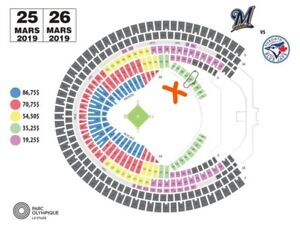 1 X BILLETS Blue Jays TORONTO Brewers 26 MARS MONTREAL BLEACHER