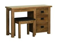 The Old Creamery Riad Rustic Oak Dressing Table, Stool and Mirror set