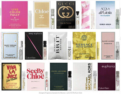 Lot of 10 Perfume Samples for Women luxury Designer. Ariana Grande, Ralph Lauren